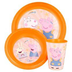 Peppa Pig - Zestaw naczyń (talerzyk + miska + kubek)