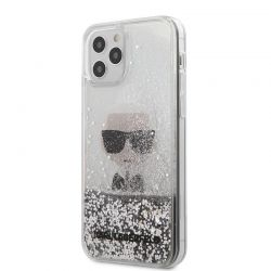 Karl Lagerfeld Liquid Glitter Ikonik - Etui iPhone 12 / iPhone 12 Pro (srebrny)