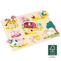 New Classic Toys - Drewniane Puzzle Farma (8 elementów)
