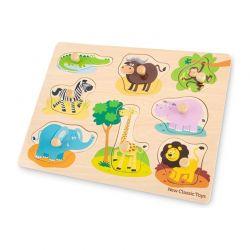 New Classic Toys - Drewniane Puzzle Safari (8 elementów)