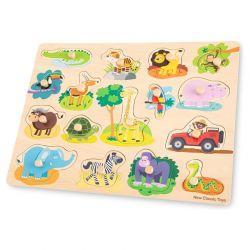 New Classic Toys - Drewniane Puzzle Safari (16 elementów)