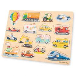 New Classic Toys - Drewniane Puzzle Pojazdy (16 elementów)
