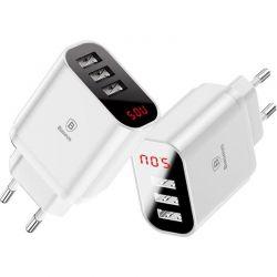 Baseus Mirror Lake - Ładowarka 3x USB z wyświetlaczem (biały)