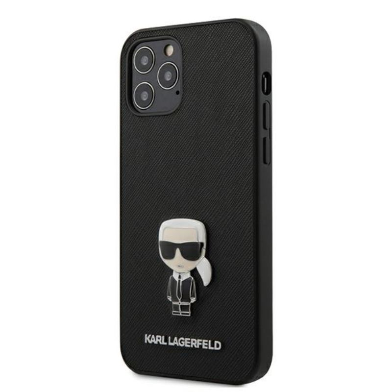 Karl Lagerfeld Saffiano with Pin Ikonik - Etui iPhone 12 / iPhone 12 Pro (czarny)