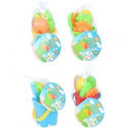 Eddy toys - Zestaw wiaderko + foremki do piasku (Żółto-niebieski)