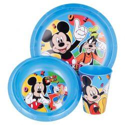 Mickey Mouse - Zestaw naczyń (talerzyk, miska, kubek 260 ml) (niebieski)