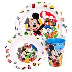 Mickey Mouse - Zestaw naczyń do mikrofali (talerzyk, miska, kubek 265 ml) (biały)
