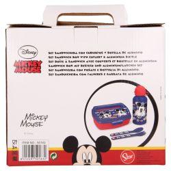 Mickey Mouse - Zestaw lunchbox, bidon 400ml, sztućce