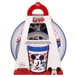Mickey Mouse - Zestaw naczyń antypoślizgowych (talerzyk, miska, kubek 260 ml)