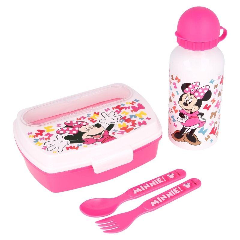 Minnie Mouse - Zestaw lunchbox, bidon 400ml, sztućce